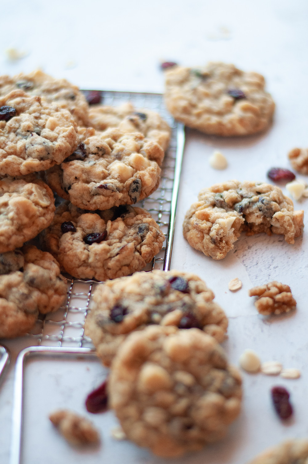 Stack of many cookies from this cranberry oatmeal cookie recipe