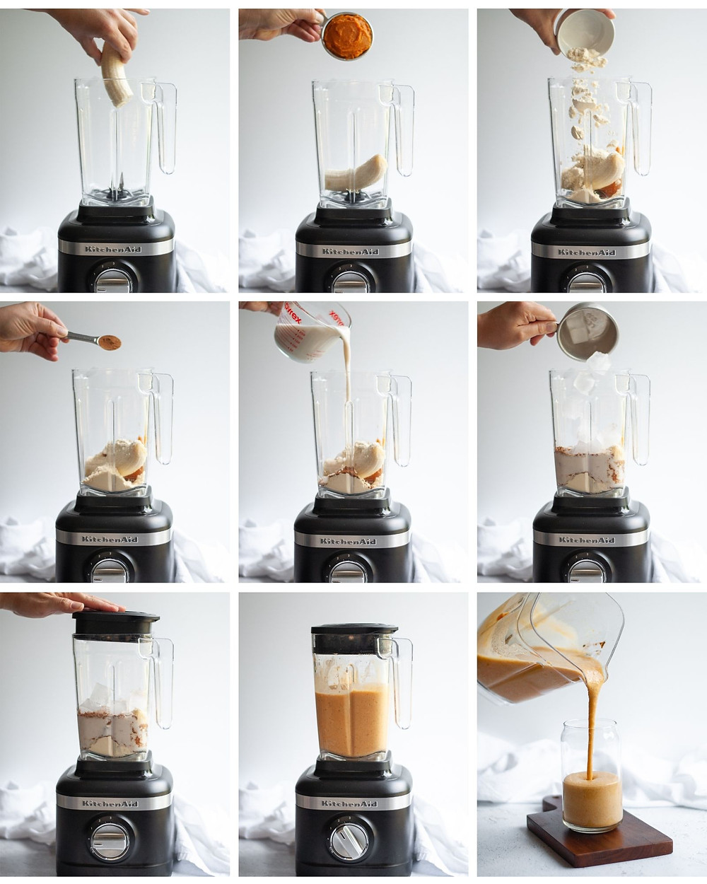 Collage showing how to make a healthy pumpkin smoothie.