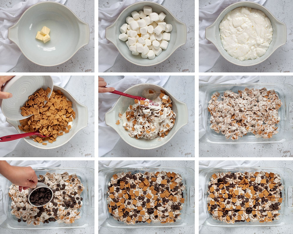 9-photo collage showing the steps to make this easy no bake dessert recipe.