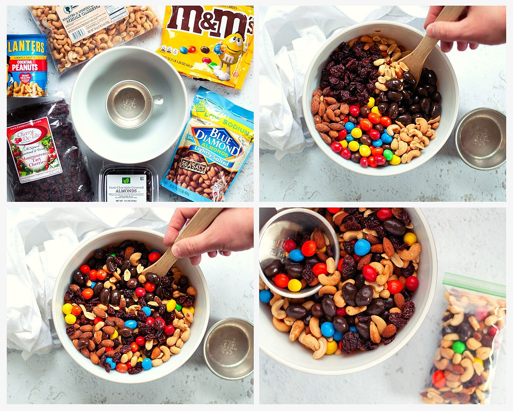 4 photo collage showing how to make homemade trail mix. The first photo shows the ingredients, the 2nd photo shows the ingredients placed nicely in a mixing bowl, the 3rd photo shows the ingredients being stirred, and the 4th photo shows a mixed up trail mix with one small zip-top bag filled with trail mix.The trail mix recipe shown here has almonds, cashews, peanuts, peanut m&ms, dark chocolate covered almonds, and dried cherries.