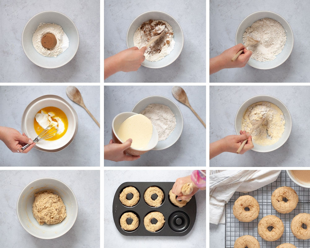 Collage of photos showing the steps showing how to make homemade donuts.