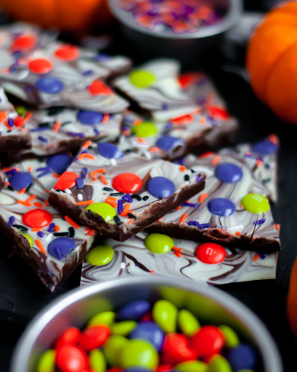 A head-of view of this Halloween bark, showing the different chocolate layers.