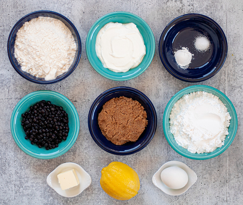 Ingredients set out for this baked donuts recipe