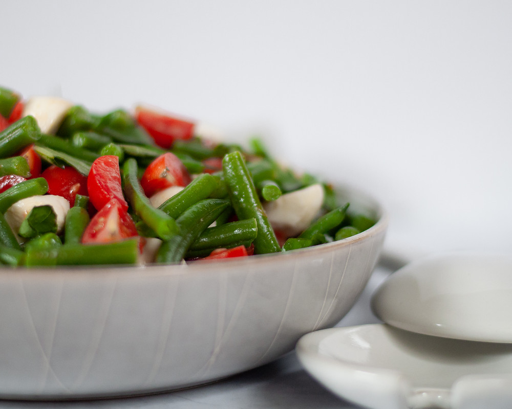 Close up, straight-on view of this vegetable side dish recipe in a large serving bowl.