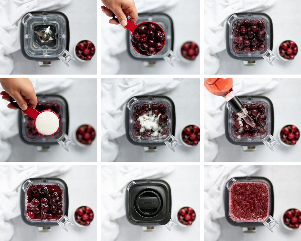 Collage of 9 photos showing the step-by-step directions of how to make a cherry rose wine slushie.
