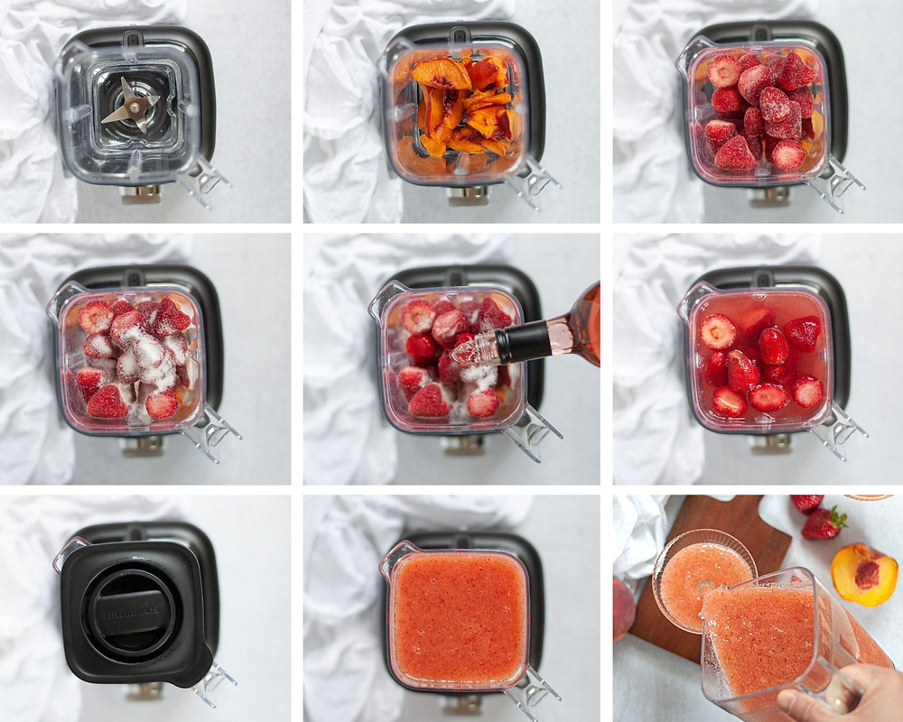 Step by step collage of how to make wine slushies. Includes 9 top down images.