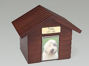 Canine Cottage: Colors: Cherry, Walnut & Oak (engraved) - Peaceful Waters Aquamation, San Diego, CA