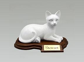 Faithful Feline Urn with Base for Pat Cremation