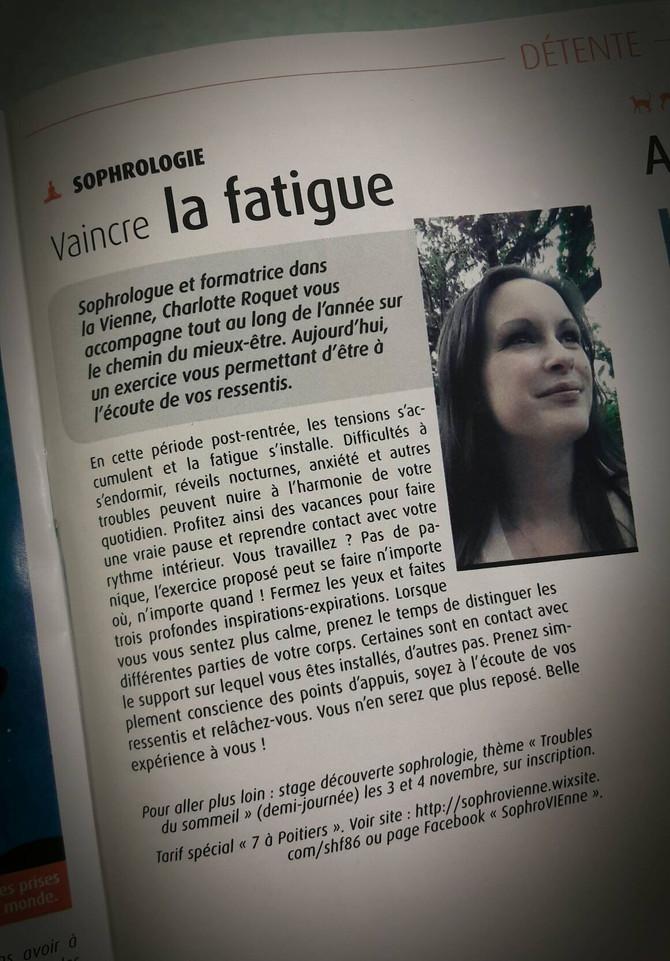 """Chronique Sophrologie - Magazine """"7 à Poitiers"""""""