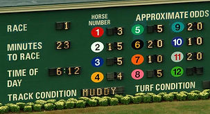 Photo of the score board at a race track showing betting odds by horse.