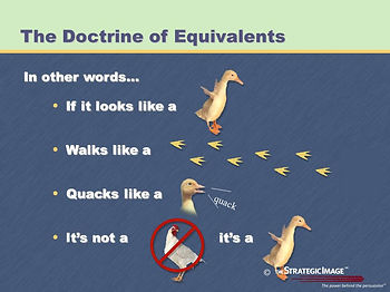 Legal graphic illustrating the Doctrine of Equivalents with a popular saying: If it looks like a duck...