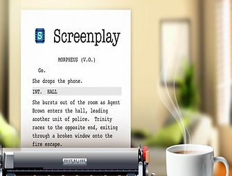 A page of a screenplay as it sits in a screenwriter's typewriter.