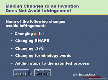 Legal graphic explaining that changing an invention does not avoid patent infringement charges.
