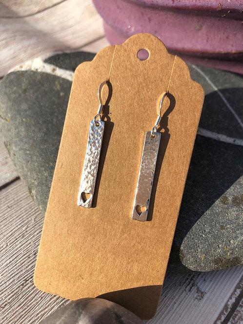 Heart Cutout Rectangle Earrings