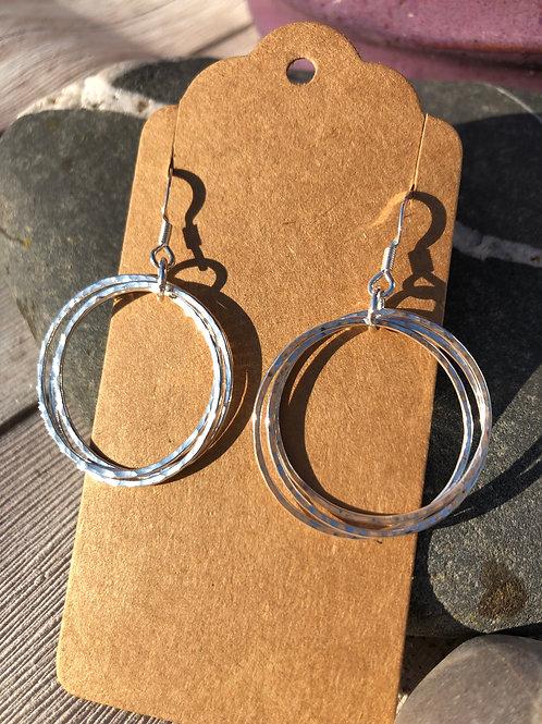 Triple hammered Hoop Earrings