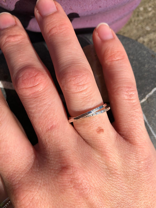 Thin Double Hammered Ring.