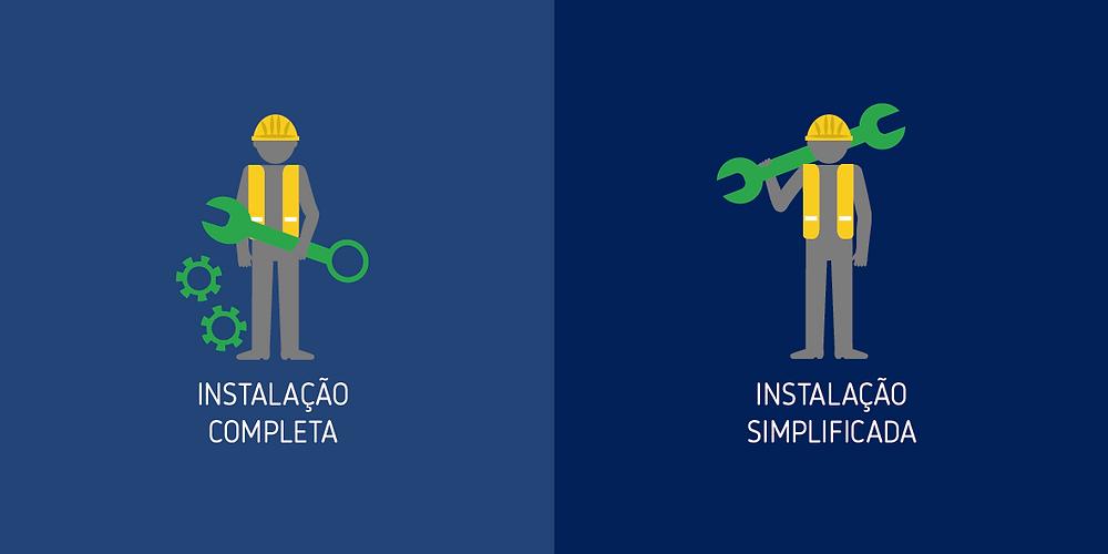 Instalação completa vs simplificada