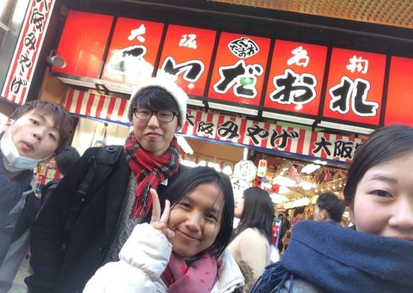 大学生と大阪市内散策(Son DalinさんとPhann Sodaneさん)