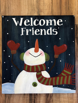 Welcome Friends Snowman - 12 x 12