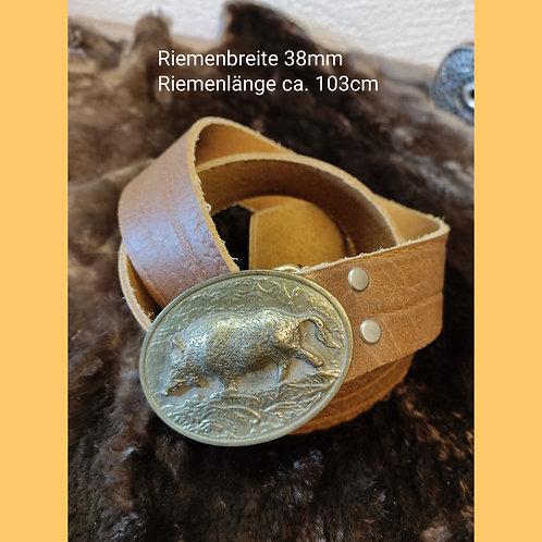 Marktgürtel Wildsau bronze braun