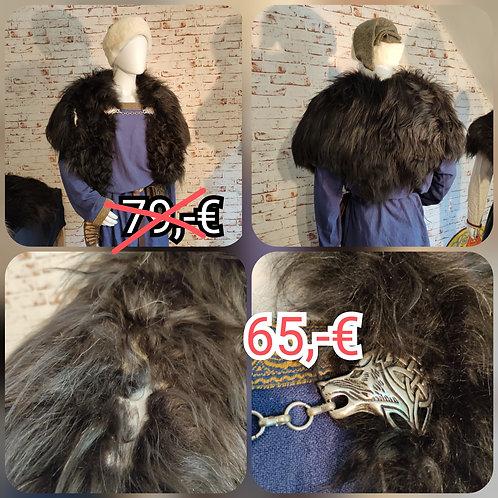 Marktfell Heidschnucke schwarz Wolf silber