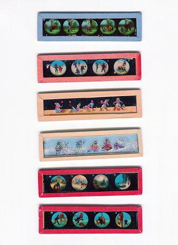 Ensemble de 23 diapositives en verre pour lanterne magique fin 1800s