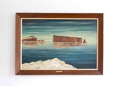 Peinture à l'huile Claude Bleau 64' Rocher Percé