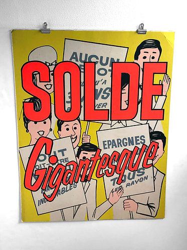 Affiche cartonnée SOLDE Gigantesque 1960s