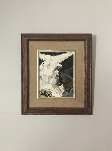 Peinture à l'huile abstraite L'oiseau de glace 1986