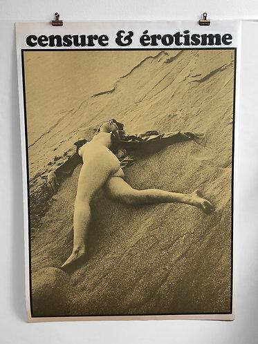 "Affiche originale Vittorio Fiorucci ""Censure et érotisme"" 1967"