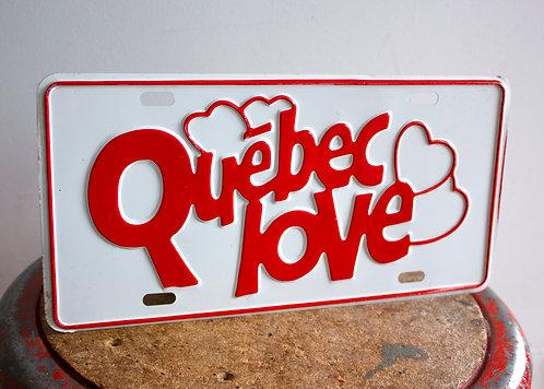 Plaque automobile 1970s Quebec Love