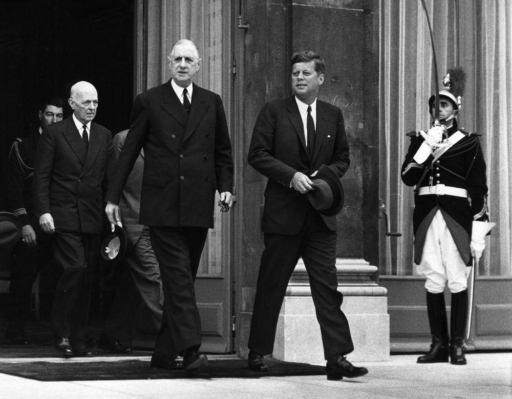 1961年法國總統戴高樂與美國總統肯尼迪在愛麗舍宮