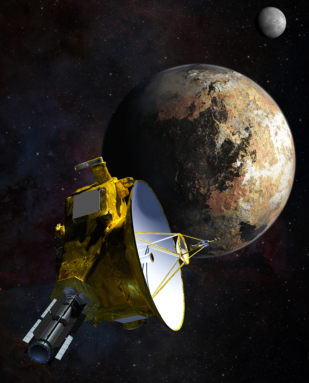 新地平線號與冥王星系假想圖