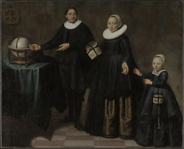 亞伯·塔斯曼與他的妻子和女兒