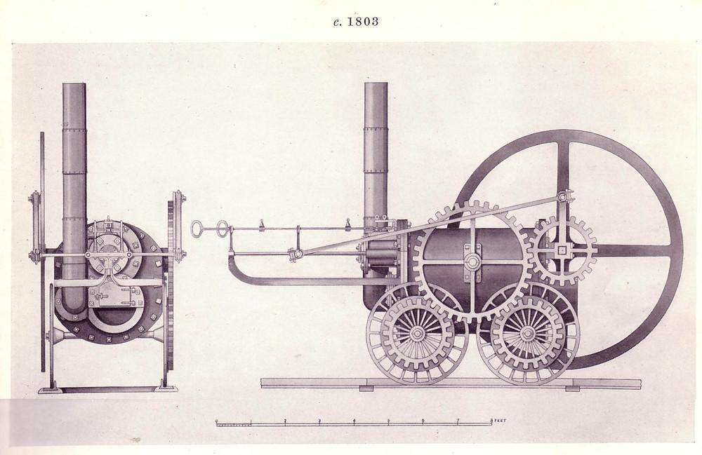 特拉維斯克設計的蒸汽機車