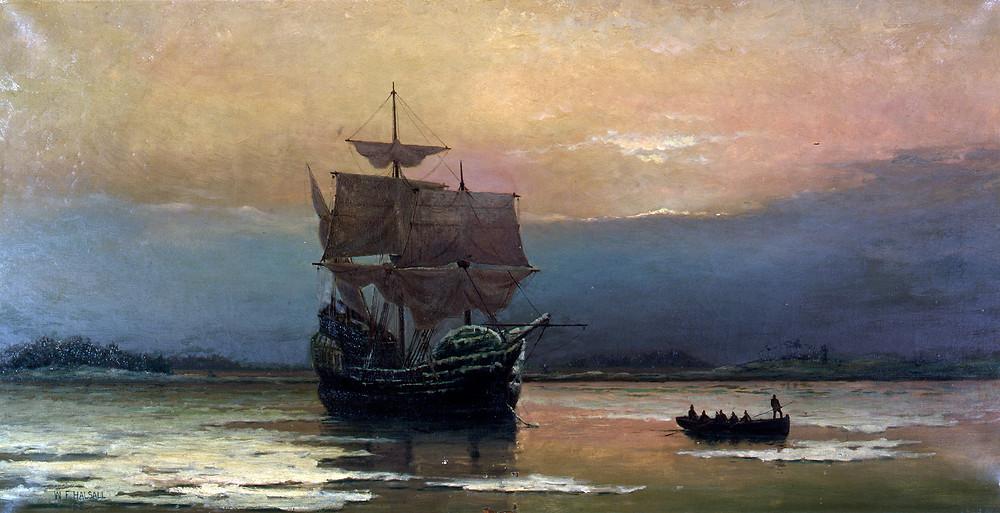 〈五月花號在普利茅斯港〉,由William Halsall繪於1882年。