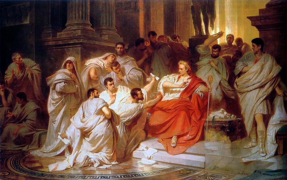 凱撒之死 凱撒對著布魯圖斯驚呼:「吾兒,亦有汝焉?!」