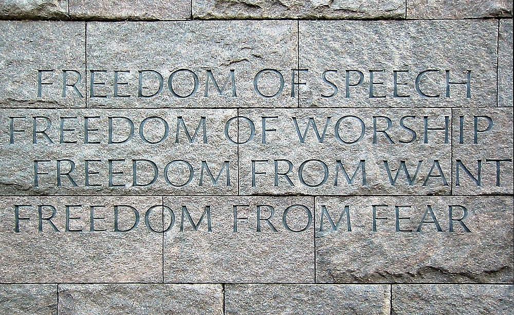 華盛頓特區雕刻著四大自由內容的富蘭克林·德拉諾·羅斯福紀念碑(Wikipedia)