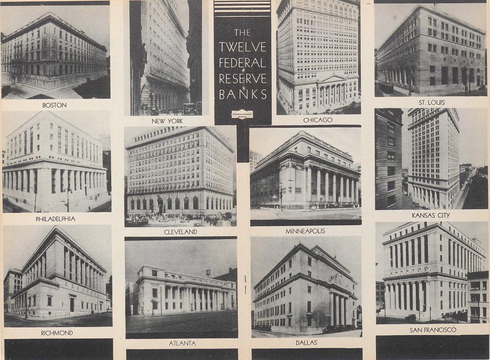 1936年美國的12家聯邦儲備銀行