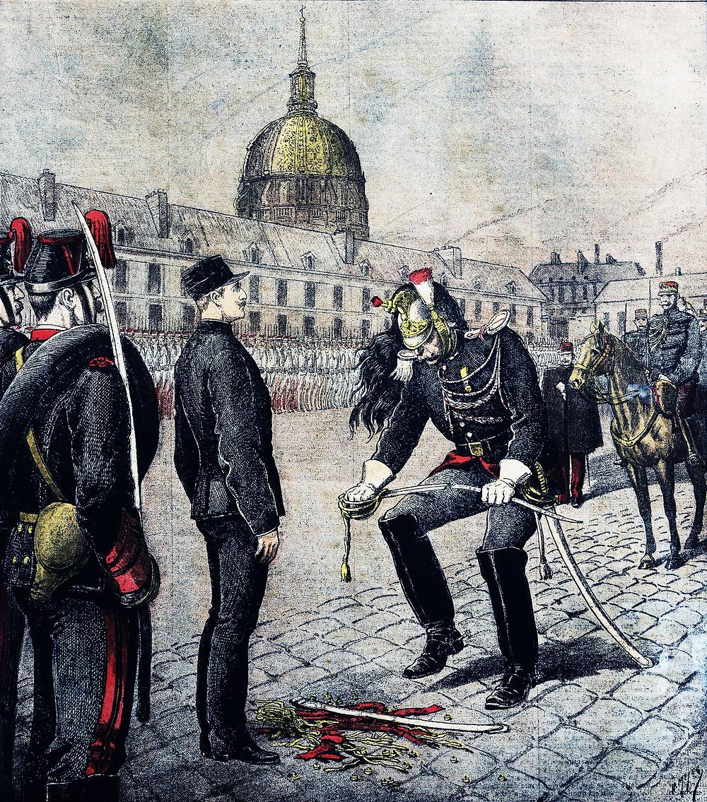1895年1月13日法國《Le Petit Journal》副刊畫報上描寫剝奪屈里弗斯軍階的畫
