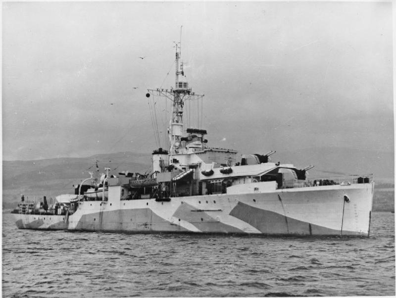 第二次世界大戰期間拍攝的「紫石英」號軍艦照片