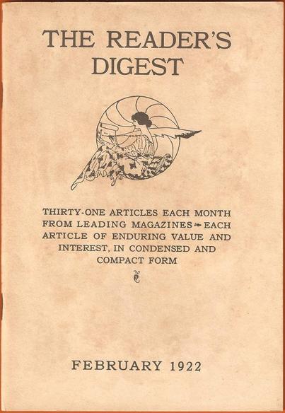 1922年2月號的《讀者文摘》封面