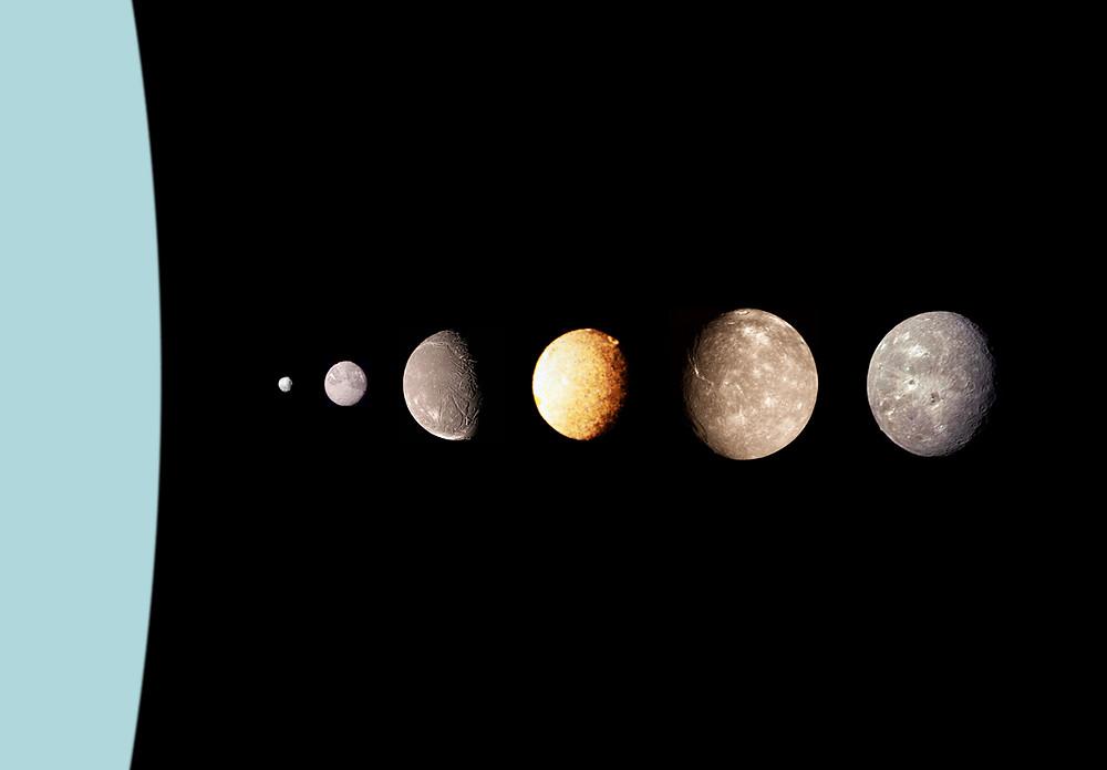 天王星及其最大的6顆衛星的相對大小和位置。最右側兩顆分別是天衛三和天衛四(最右)。