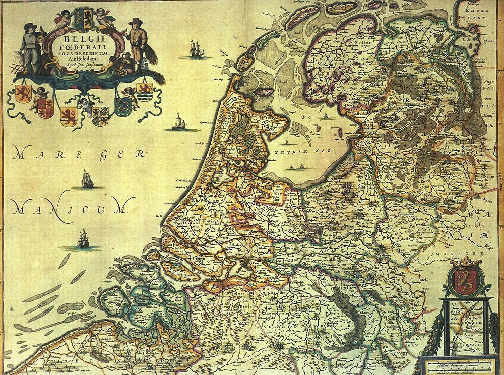 1658年繪製的荷蘭地圖,圖片內中上方灰色區塊即為須德海淺灘