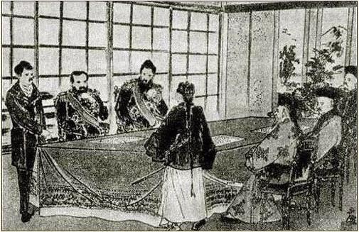 日本人繪製《馬關條約》簽字時的情景