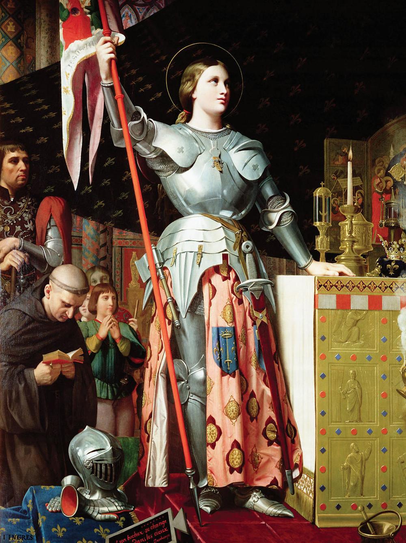 《聖女貞德在查理七世的加冕典禮上》,由安格爾所繪。