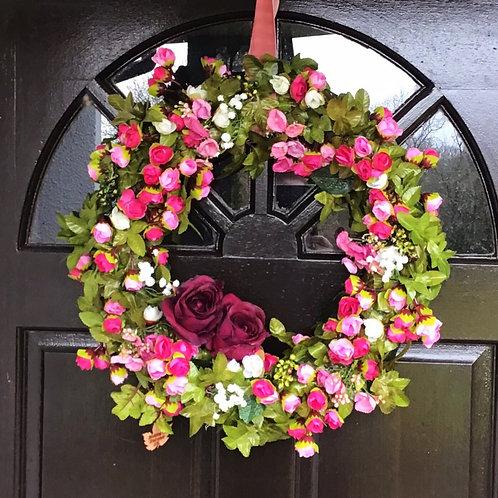 Darling Buds Deluxe (Deep Pink) Floral Wreath