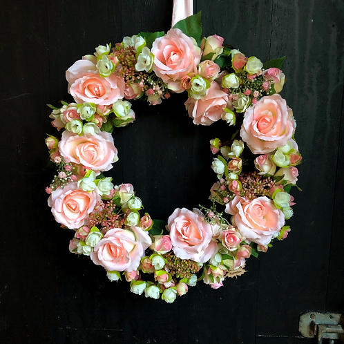 forever love is a hand made wreath with pink roses a gift for her, mum, sister making an entrance