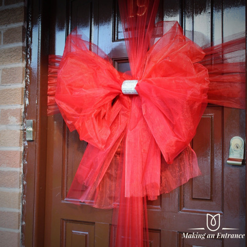 Makinganentranceuk Making An Entrance Uk Organza Xmas Front Door Ribbon Bow Pink Red Baby Christmas
