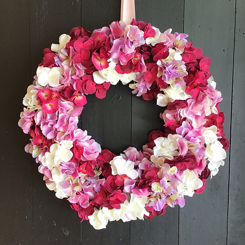 this hand made ( by making an entrance ) lovely hydrangea door wreath will make your front door sing